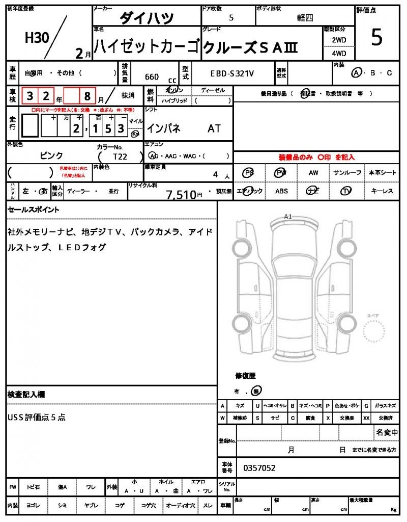 2018 Daihatsu Hijet Cargo Ref No0120085325 Used Cars For Sale Engine Diagram Print This Page Condition Sheet