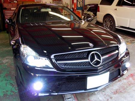 ベンツ SL ヘッドライト フォグライト HID化 ナンバー灯 LED化 専門店 大阪 ガレージアクト